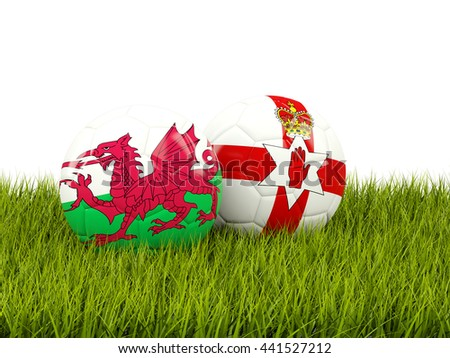 Northernn Ireland and Wales soccer balls on grass. 3D illustration - stock photo