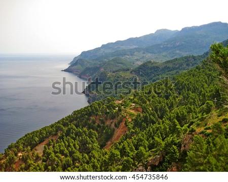 Northwest coast of Majorca, view from Torre del Verger near Banyalbufar, Tramuntana mountains towards coastline - stock photo