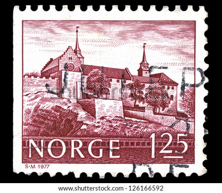 "NORWAY - CIRCA 1977: A stamp printed in Norway shows Akershus Castle (Oslo), without inscriptions, from the series ""Buildings"", circa 1977"