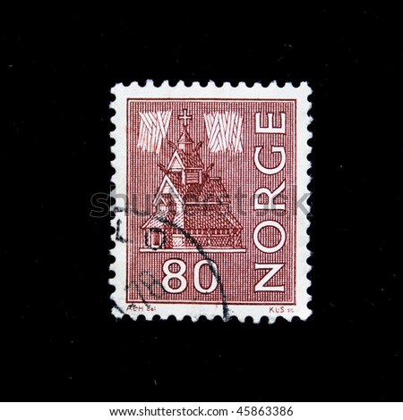 NORWAY - CIRCA 1978: A stamp printed in  Norway shows Borgund Stave Church is the best preserved of all Norwegian stave churches, circa 1978