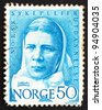 NORWAY - CIRCA 1968: a stamp printed in the Norway shows Cathinka Guldberg, the first nurse in Norway, circa 1968 - stock photo