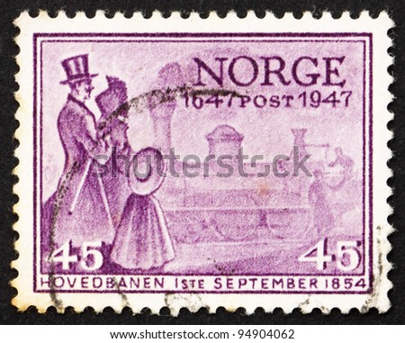 NORWAY - CIRCA 1947: a stamp printed in the Norway shows First Norwegian Locomotive, circa 1947
