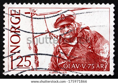 NORWAY - CIRCA 1978: a stamp printed in the Norway shows King Olav V Sailing, circa 1978 - stock photo