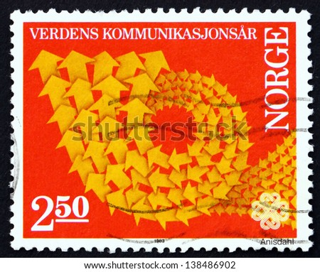 NORWAY - CIRCA 1983 a stamp printed in the Norway shows Symbolic Arrow Design, World Communications Year, circa 1983 - stock photo