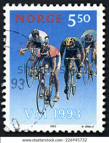 NORWAY - CIRCA 1993: post stamp printed in Norge four men cycling from world championships in Noway series, Scott 1041 A359 5.50k multicolor, circa 1993 - stock photo