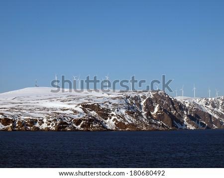 Norway Coastline Wind power plant - stock photo