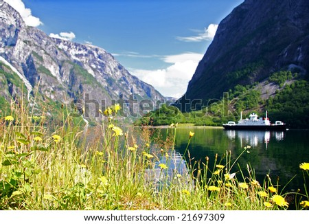 Norway. Ferry on the fjord, Sognefjorden. - stock photo