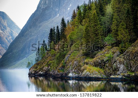 norway fjord - stock photo