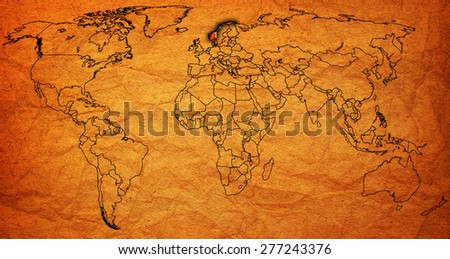 norway flag on old vintage world map with national borders - stock photo