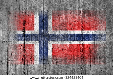 Norway flag painted on background texture gray concrete - stock photo