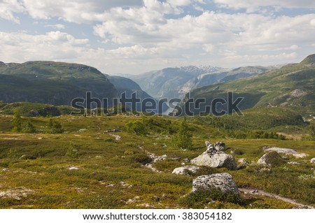 Norway, Hardangervidda / Hardangervidda is a mountain plateau in central southern Norway, covering parts of the counties of Buskerud, Hordaland and Telemark. - stock photo