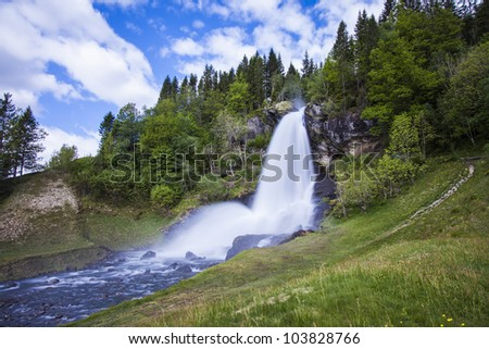 Norway, Hordaland county. Famous Steinsdalsfossen waterfall. Scandinavian nature. - stock photo