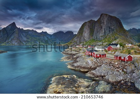 Norway. Image of Lofoten Islands, Norway during beautiful sunset. - stock photo