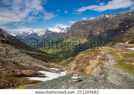 Norway lake in spring - stock photo