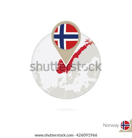 Norway map and flag in circle. Map of Norway, Norway flag pin. Map of Norway in the style of the globe. Raster copy. - stock photo