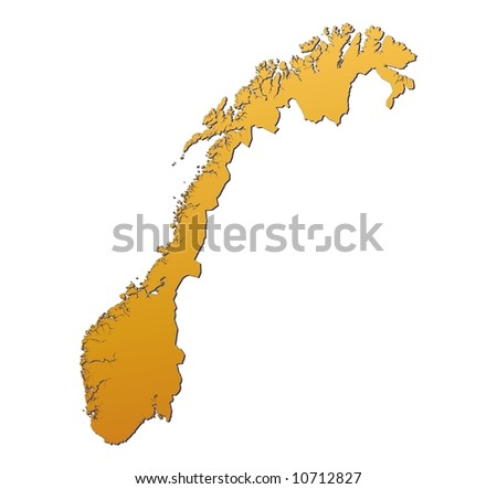 Norway map filled with orange gradient. Mercator projection. - stock photo