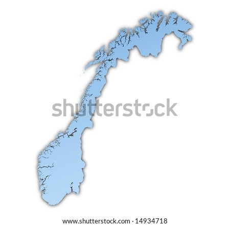 Norway map light blue map with shadow. High resolution. Mercator projection. - stock photo