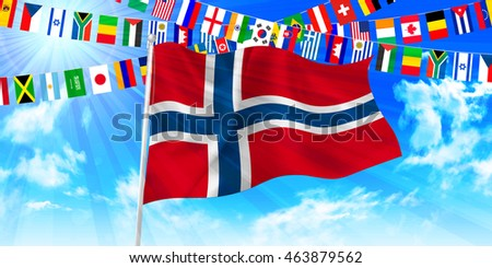 Norway national flag sky background