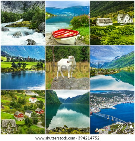 Norway, natural landscapes, collage - stock photo