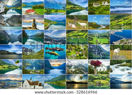 Norway natural landscapes travel collage