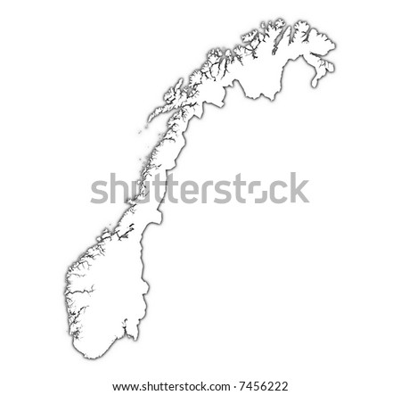 Norway outline map with shadow. Detailed, Mercator projection. - stock photo