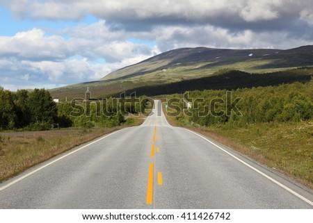 Norway - road in Dovrefjell-Sunndalsfjella National Park. - stock photo