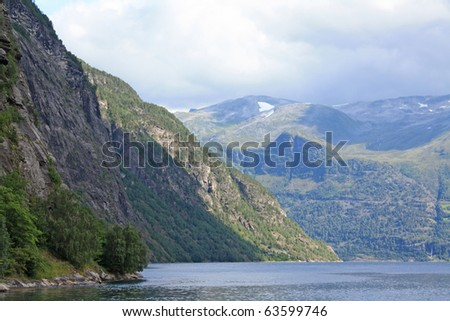 Norway sea and mountain - stock photo