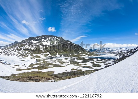 Norway with blue sky and snowy hills - stock photo