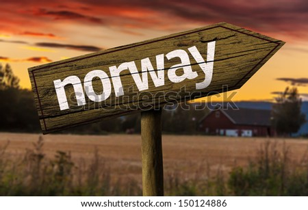 Norway wooden sign in a rural background - stock photo