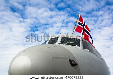 norwegian air force military airplane flag stock photo edit now