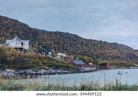 Norwegian autumn scenery, lot of colors - stock photo