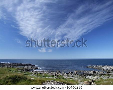Norwegian coast of Vesteralen archipelago. - stock photo