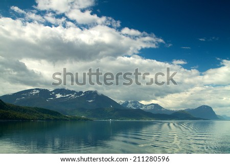 Norwegian fjords. Nature of its high mountains and ocean bays.