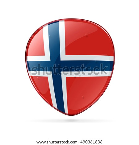 Norwegian Flag icon, isolated on white background.