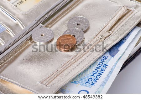 Norwegian metal and paper money i - stock photo