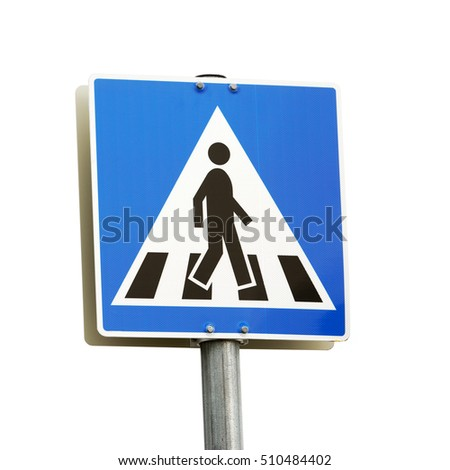 Norwegian pedestrian crossing sign isolated on white background