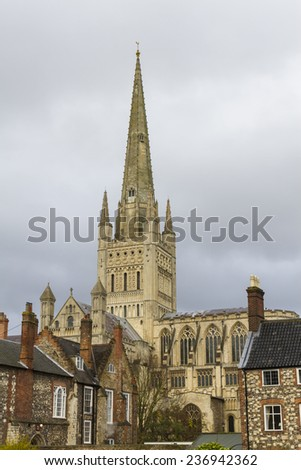 Norwich Cathedral, Norfolk, England. Construction started in 1096 and finished in 1145 - stock photo