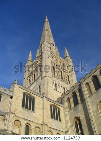 Norwich Cathedral Spire - stock photo