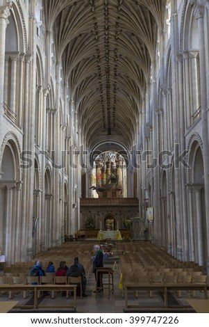 Norwich, Northfolk, UK, March 30th 2016 - Showing the Norwich Cathedral catholic church, Showing the interior of the church which one of its grand halls