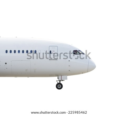 Nose of a large airliner. Isolated on white background - stock photo