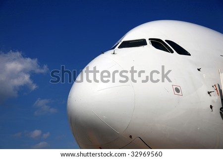 Nose of Airliner frontal side view - stock photo