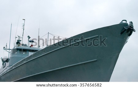 Nose of the naval ship. - stock photo