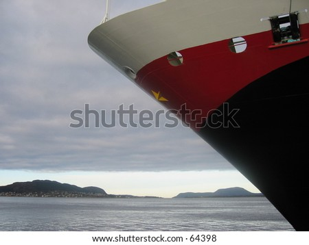 Nose of Trollfjord cruise ship. - stock photo