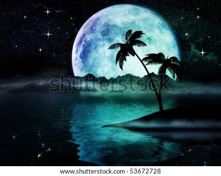Nostalgic dreamland with big moon over the sea - stock photo