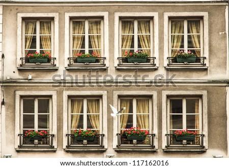 Nostalgic facade of a hotel in Paris France - stock photo