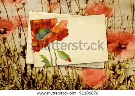 nostalgic note with poppy flower - stock photo