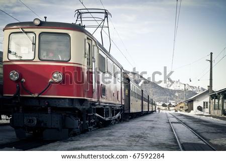 Nostalgy Train in the Winter Landscape of Austria - stock photo