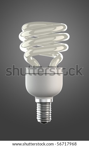 not luminous energy saving lamp with clipping path - stock photo