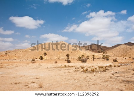 Not only sand dunes, but also arid mountains are a face of mighty desert Sahara - stock photo