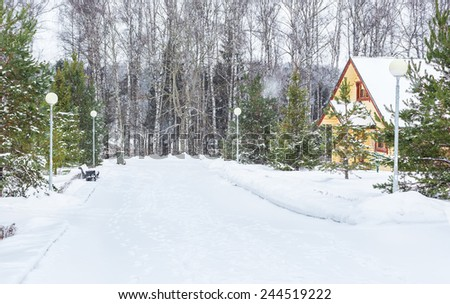 Not peeled winter road after snowfall to Moscow area - stock photo